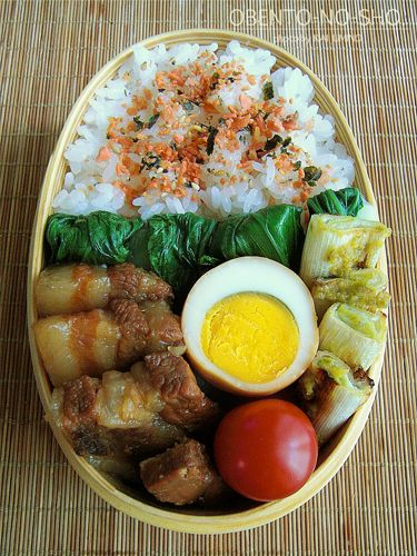 Japanese Pork Belly and Boiled Egg Bento Lunch|弁当