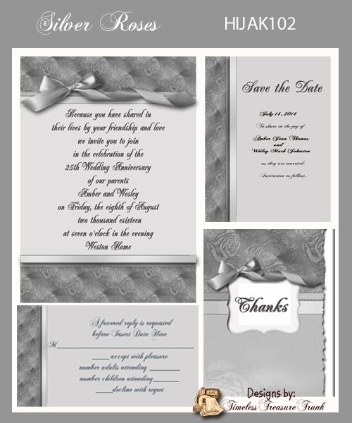 58 best 25th anniversary ideas images on pinterest silver silver anniversary invitation do it yourself solutioingenieria Gallery