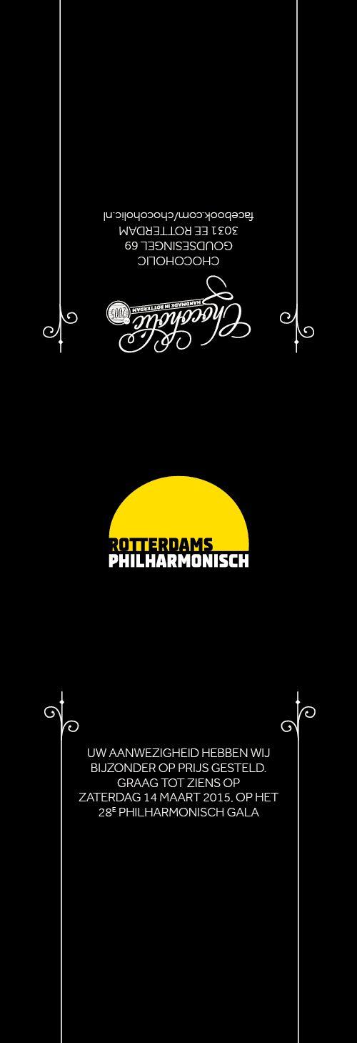 Banderol voor een bonbondoosje i.o.v. Chocoholic en Rotterdams Philharmonisch.