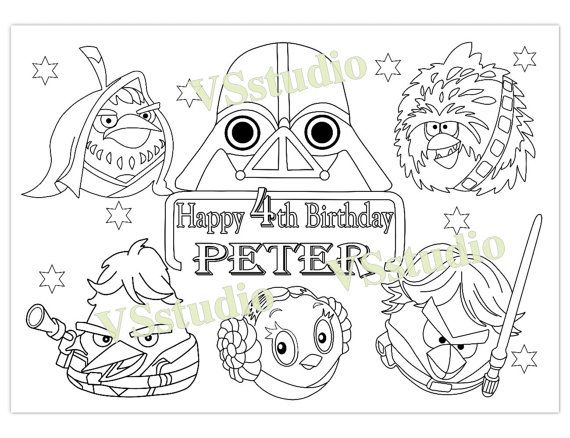 Personalized Angry Birds Star Wars Birthday Party By VSstudio