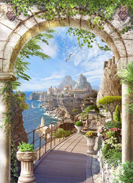 Фреска на заказ! Средиземноморский пейзаж в каменной арке, SM 022, Стоимость зависит от выбранной вами фактуры