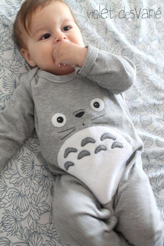 Pijama inspiración Totoro para bebés por VioletDesvarie en Etsy