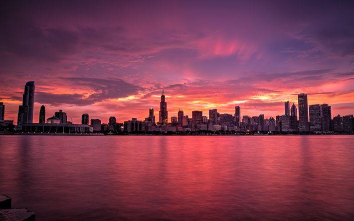 Download wallpapers Chicago, 4k, cityscapes, panorama, sunset, USA, America