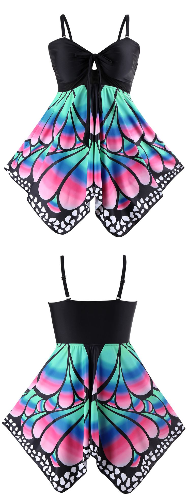 Plus Size Butterfly Print Skirted Blouson Tankini