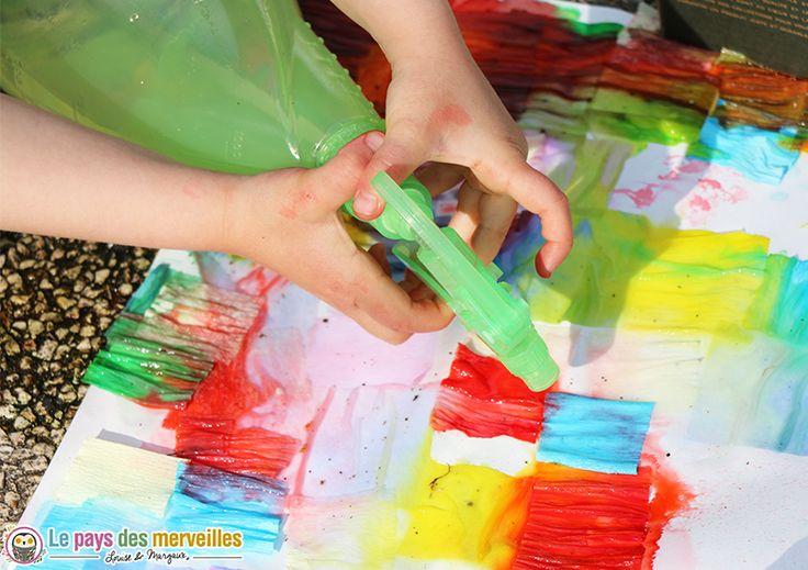 pulvériser eau crepon activité manuelle peinture papier crepon eau