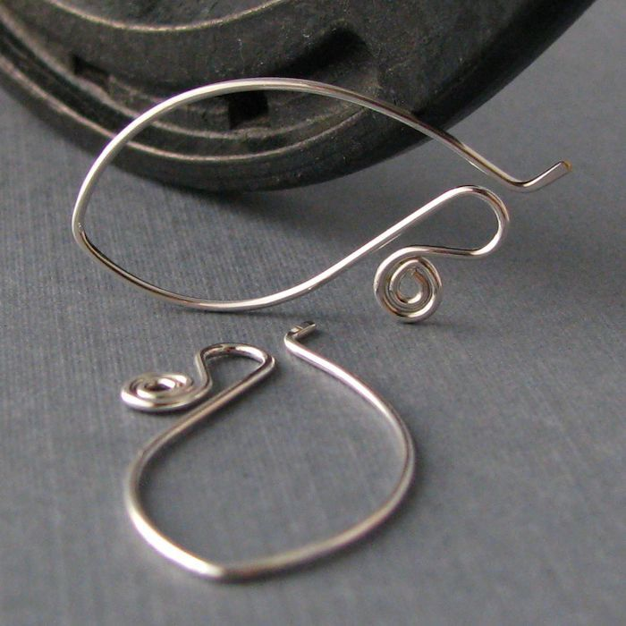Interchangeable Silver Filled Ear Wires, Long Spiral Elfaerie, Handmade Jewelry Findings by Rocki Adams