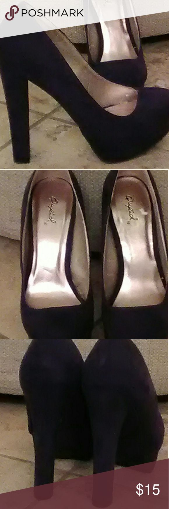Purple suede pumps sz7 Qupid purple suede platform pumps size 7. Worn once. My feet are wide and they pinched my toes. Qupid Shoes Platforms