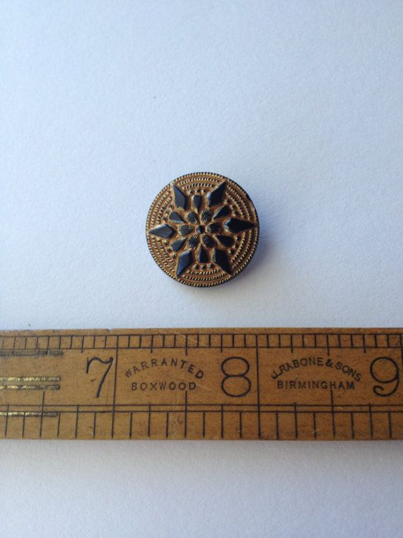 Very Old Czech Republic Black and Glod Glass button make a