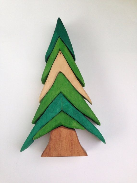 This tree is a fun stacker for young children or adults and makes an excellent holiday decoration or addition to your fairy garden. Perhaps