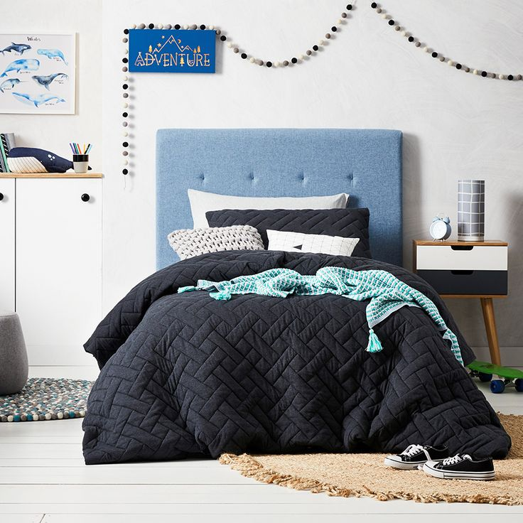 Has your little one ever slept in Jersey before? If not they're in for a treat! It's incredibly soft and smooth to touch and this Hunter Jersey quilt cover offers a beautifully quilted texture that has a cloud like feel. The dark coal makes it very easy to accessorise using either bright or soft colours.