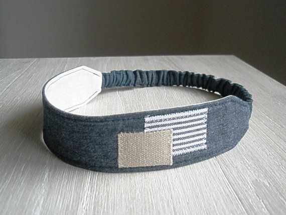 denim headband with patches fabric hairband by greylittlemouse