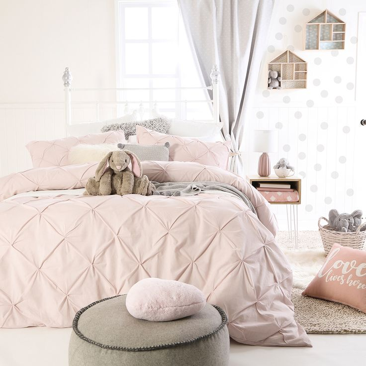 Pinch Pleat Pink Quilt Cover Set
