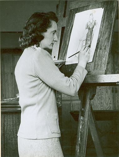 Fashion student sketching 1940s. Fashion illustration.