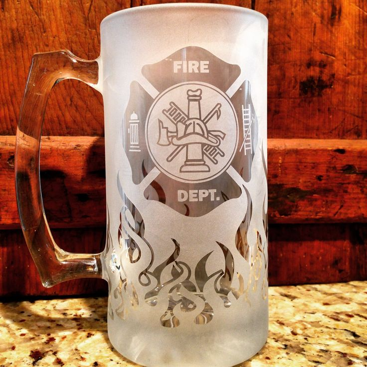 Fire Department, Beer Stein, Fireman Gift, Fireman gifts, Firefighter gift, Firefighter gifts, Flames, Beer stein, Beer mug, Firefighter retirement, Firefighter graduation, Fireman retirement gift. 23oz beer stein with maltese cross and frosted flames that wrap all the way around the stein.. Perfect for putting those flames out after a hot day.