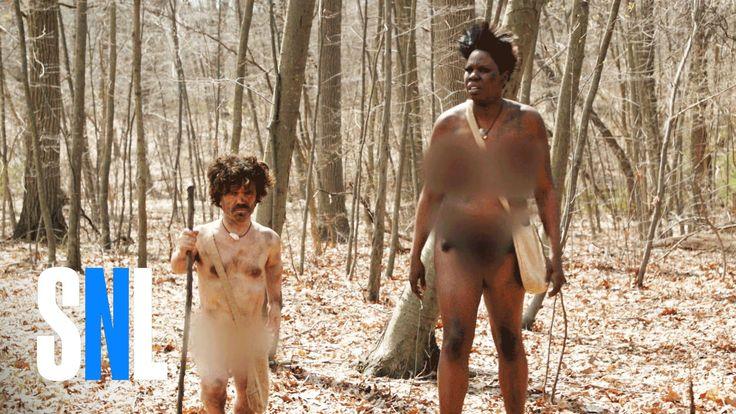 Peter Dinklage and Leslie Jones in Naked & Afraid: Celebrity Edition - SNL