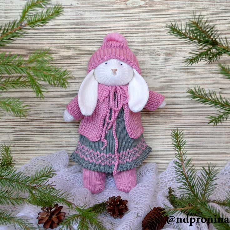 @ndpronina knitted rabbit, new year, present for baby, knitted toys, knitting, christmas, hand made, вязаная игрушка, вязаный заяц, вязание для детей, knitted bunny