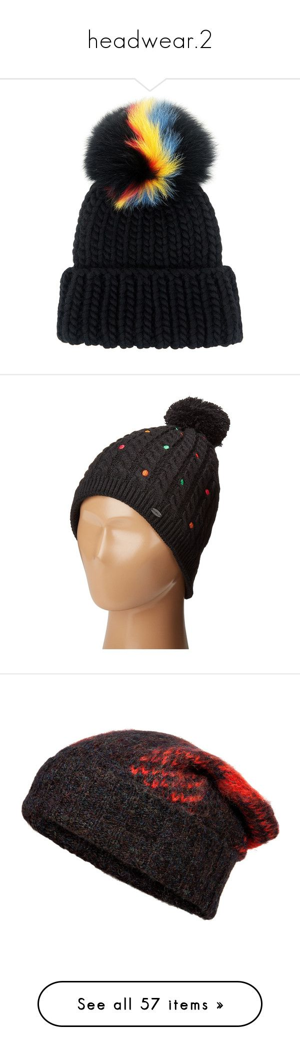 """headwear.2"" by theclocker ❤ liked on Polyvore featuring accessories, hats, beanie, beanie hats, cable knit hat, fur pom-pom hats, fur pom pom hat, fur pom pom beanie, cable hat and pom pom hat"