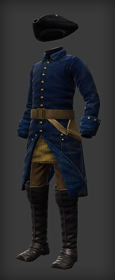 Uniform of Charles XII of Sweden. Early 1700's. (Looks like this is a super-realistic computer illustration rather than a photograph)