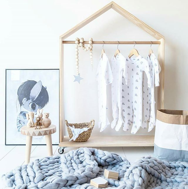 | nursery |  This photoshoot by @montytribe still makes my heart flutter! So many wonderful brands make for one incredible space!  Tap for details ✌ . House shaped hanging wardrobe for baby . #lucaandjohnny