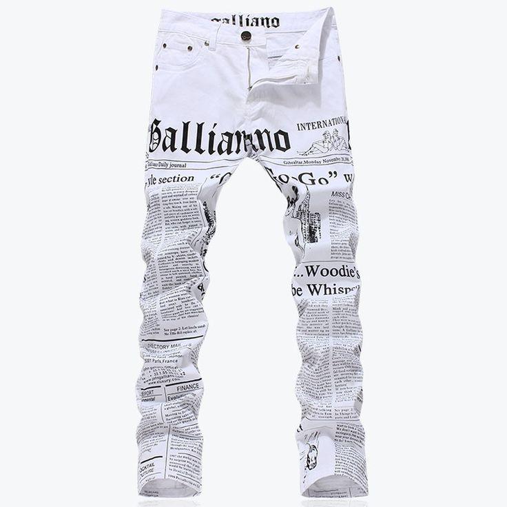 Мужская мода slim fit письма бумаги для печати джинсы Мужской плюс размер повседневная белый джинсовые брюки Длинные брюки Бесплатная доставка купить на AliExpress