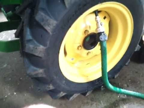 ▶ How To Fill Garden Tractor Tires With Washer Fluid - YouTube