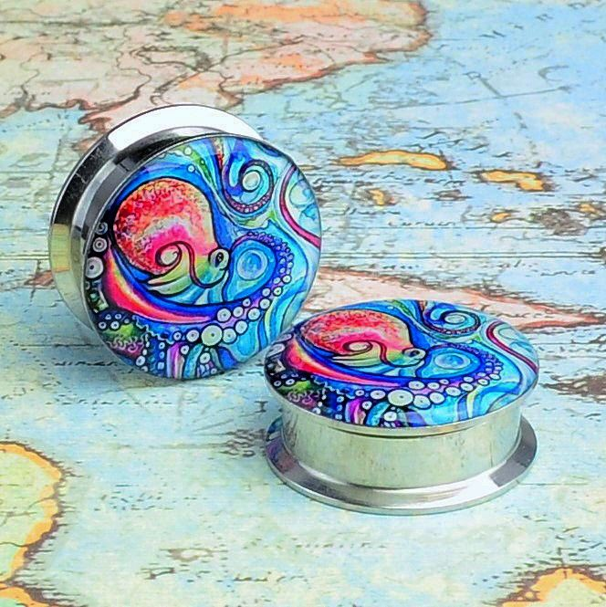 Painted Octopus Stainless Steel Plugs – Arctic Buffalo