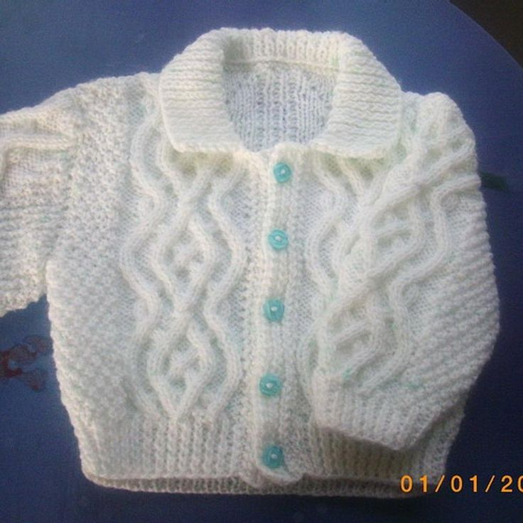 "This is a sweet baby cardigan, ideal for the new little boy or girl in your life.  It looks good in pastels or strong colours.  The front bands are made separately, so you can knit the cardigan before the baby arrives and sew the bands on at the last minute – unless you already know the gender, of course.  Fiachra is pronounced fee-ack-rah, and means ""raven,"" although some sources state the meaning to be ""saint."""