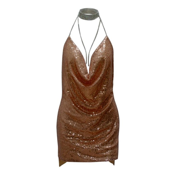 Fashion-Women-Backless-Sequin-Dress-Ladies-Club-Plunge-Chain-Choker-Slip-Dress