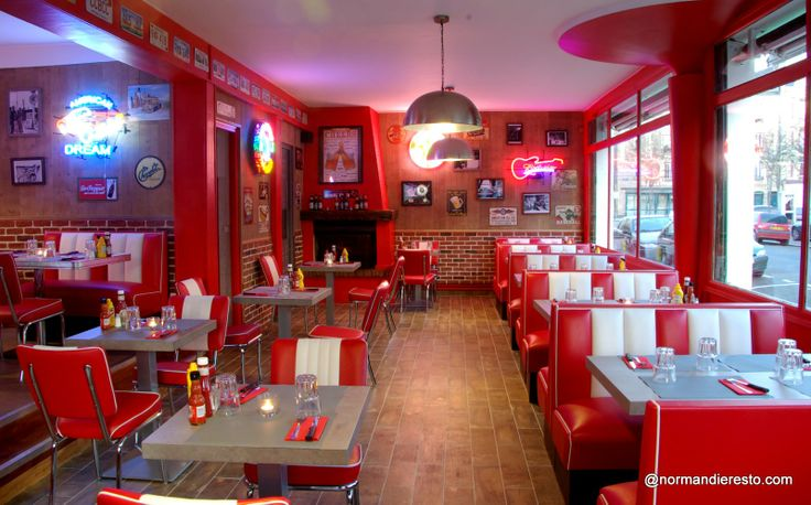 Le fifty 39 s american diner au havre restaurant burger for Deco restaurant americain