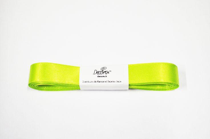 Nastri e girotorta : Nastro doppio raso verde mela Decora 1,5cm X 5mt