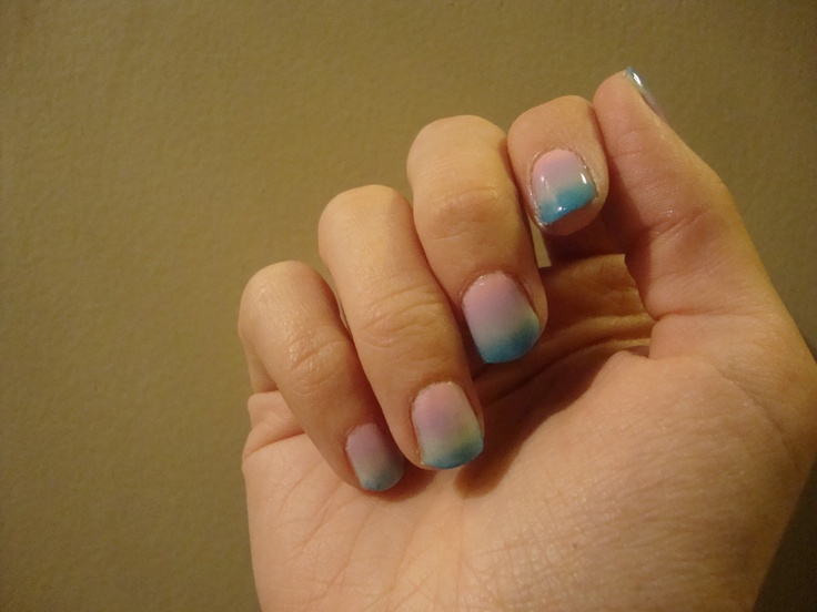 My Easter Mani, done with make-up sponge. Blue, Green, Purple, Pink.