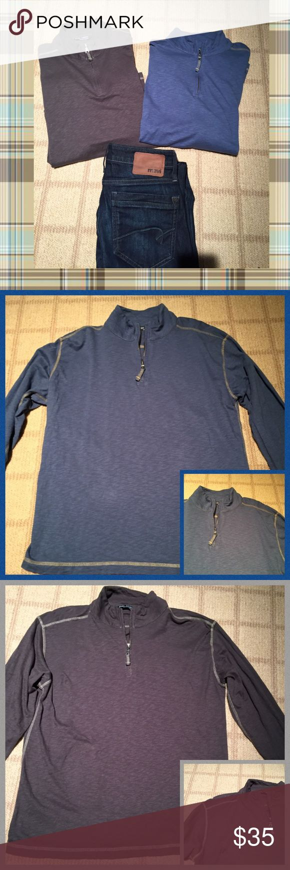 ✨Bundle of two Men's long sleeve 1/4 zip shirts✨ One in a blue and one in grey. Both have great stitching detail and 1/4 zip front. Great condition and quality! 100%cotton. Horn Legend Shirts Tees - Long Sleeve