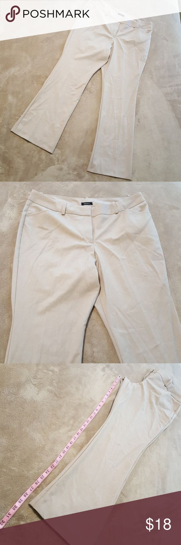 """Worthington Pants/Slacks. """"Modern Fit"""". Sz 12P. Nice slacks/dress pants by Worthington. """"Modern Fit"""". Size 12P. Beige/Light Tan color. Very good condition. No holes, stains, pilling, pulls. Not lined. Can be machine washed so easy to care for. Only """"flaw"""" is that they're wrinkled from being in a too full closet. Sorry! Great with nice blouses, sweaters, blazers, dusters. Comfortable fit. Approx measurements in pics. 63% Polyester, 34% Rayon, 3% Spadex. Worthington Pants Trousers"""
