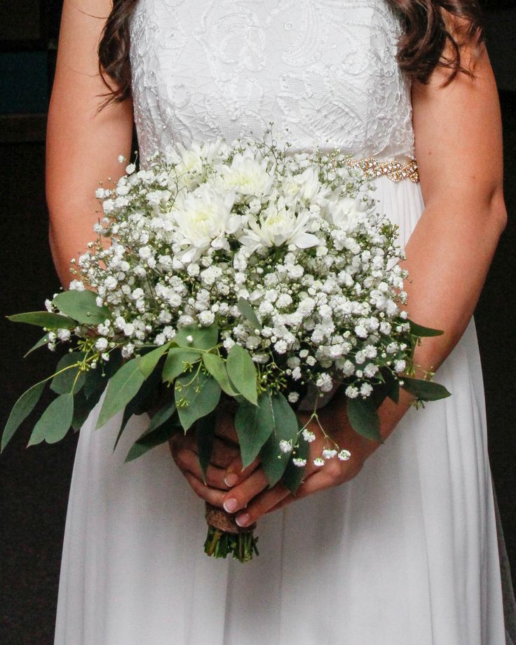 Gyp Flowers Baby's Breath Romantic Rustic Bridal Bouquet Featuring White Cushion