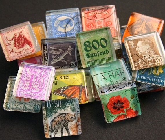 Vintage postage stamp magnets under glass tiles  (Set of 5, $ 10)  Great for favors; larger quantities available