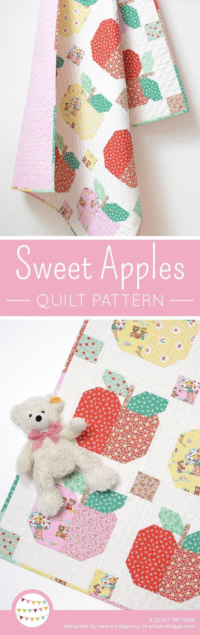 Sweet Apples baby quilt pattern by Nadra Ridgeway of ellis & higgs. Fast and easy quilt pattern, apple quilt block, apple quilt, wall quilt, baby quilt, pillow, cushion, sewing for kids, sewing for children, sewing for baby, kids room decor. Patchwork Anleitung, Anfänger, Nähanleitung, Baby Quilt, Wandbehand, Apfel Quilt Block, Geschenke fürs Baby, Geschenke fürs Kind, Geschenke nähen, Nähen für Kinder, Nähen fürs Baby, Kinderzimmer Dekoration, DIY