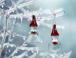 Norwegian Hadeland Glass Nisse Ornaments