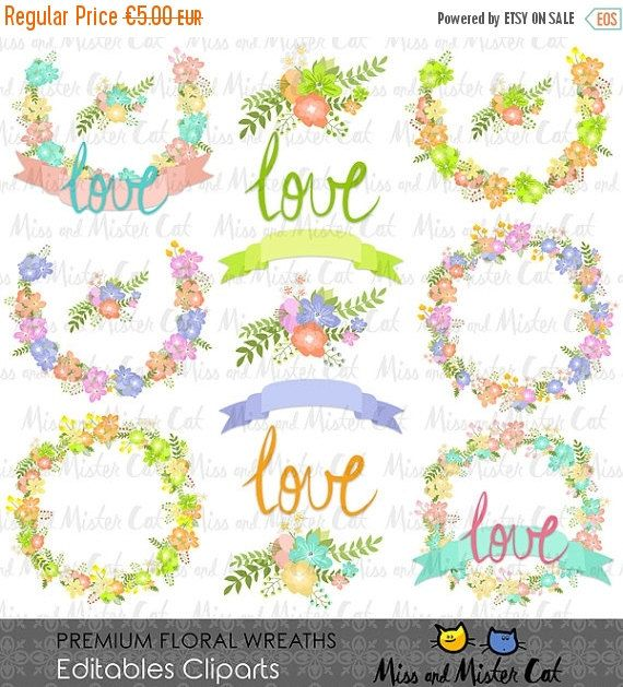 70% OFF SALE Premium Floral Wreaths Cliparts. by MissAndMisterCat