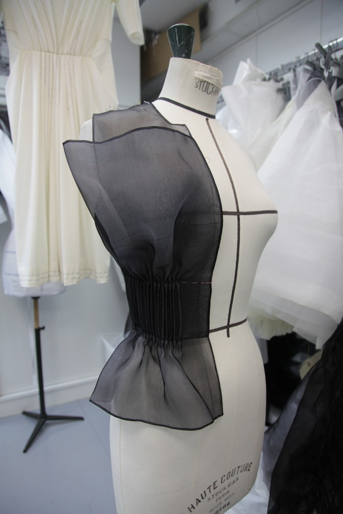 A work in progress at the Dior couture atelier.