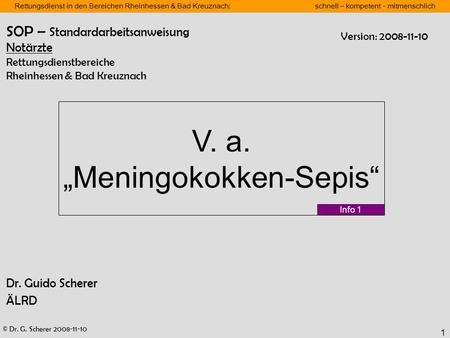 © Dr. G. Scherer 2008-11-10 Rettungsdienst in den Bereichen Rheinhessen & Bad Kreuznach: schnell – kompetent - mitmenschlich 1 Dr. Guido Scherer ÄLRD V.