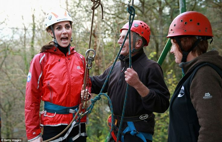 Kate looks excited as she gets buckled up ready to take part in the daring activity at the...