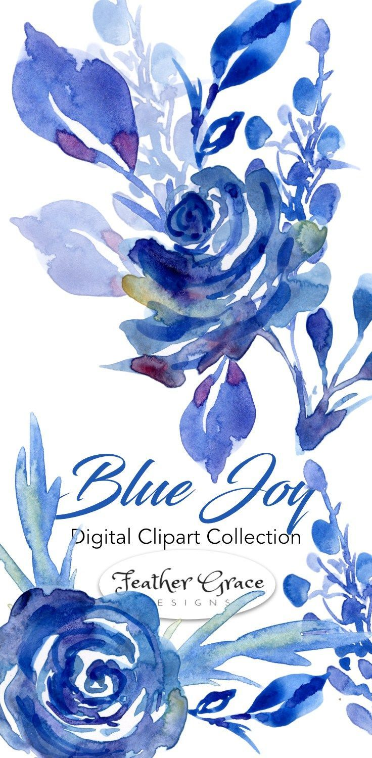 Watercolor Clipart Watercolor Flowers Beautiful Blues Are The