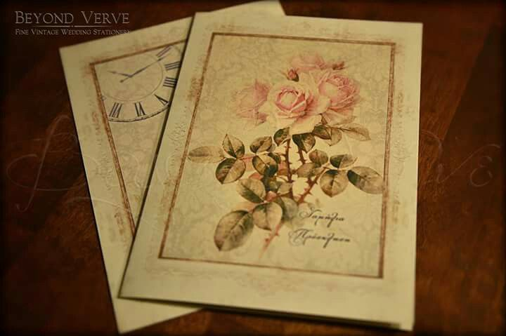 Vintage romantic rose botanica wedding invitation - Wedding stationery