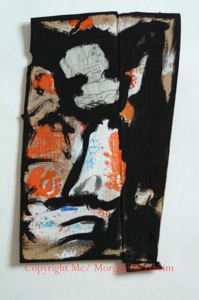Tableau peinture noire sur carton merrheiM bonhomme Néo Expressionniste 22x44cm #MorganMerrheimMe