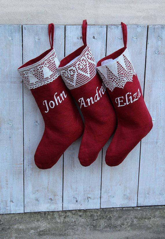 Personalized Red Christmas stockings  with lace Custom christmas  stocking kits Xmas stockings Personalized Christmas stockings personalized by HedgehogKingdom #shopping #gifts #shopsmall