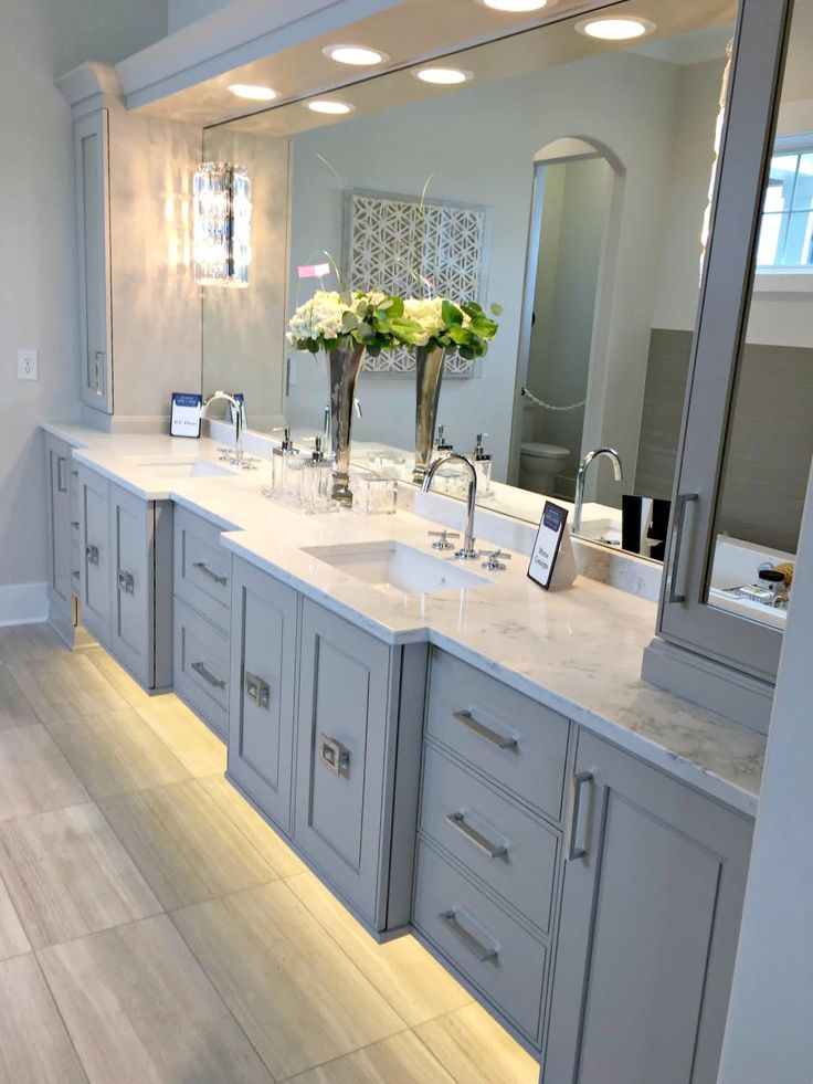 Gray Bathroom Vanity With Lights