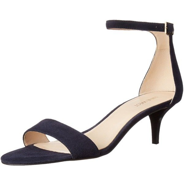 Nine West Women's Leisa Leather Heeled Dress Sandal, Navy, 7.5 M US (£65) ❤ liked on Polyvore featuring shoes, sandals, navy sandals, nine west, navy blue dress sandals, navy shoes and nine west shoes