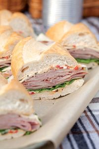 Paula Deen Ham and Havarti Sub Sandwiches with Roasted Red Pepper Mayonnaise