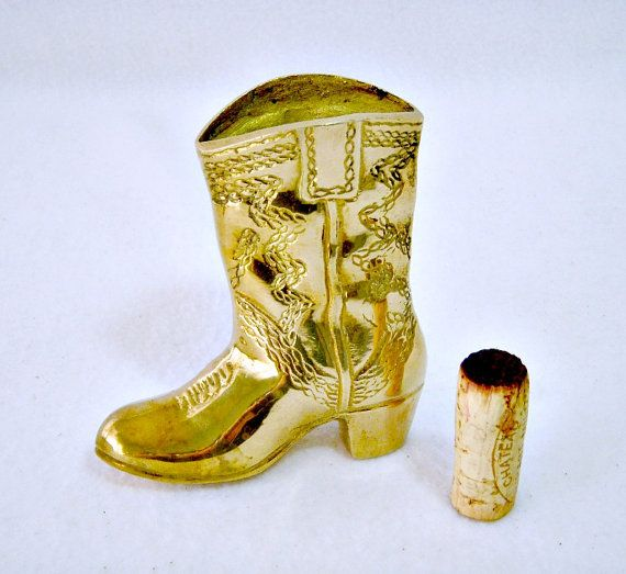 Vintage Brass Cowboy Boot Paperweight Desk by GSaleHunter on Etsy