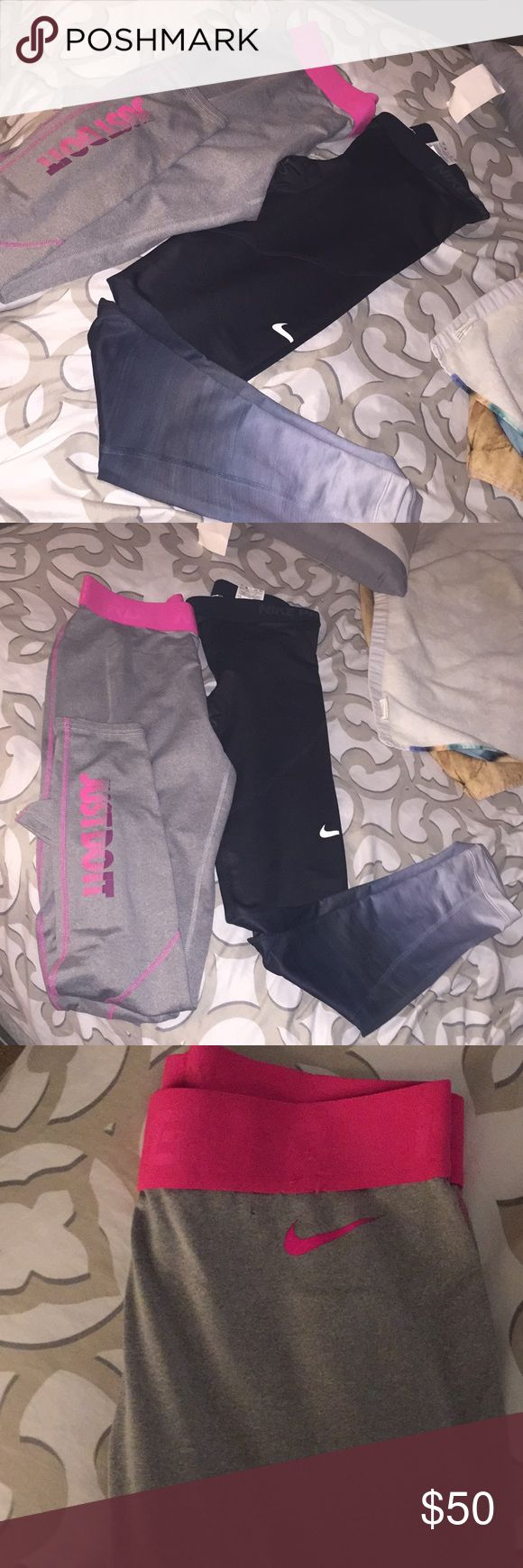 2 nikes pro pants Two Nike workout pants! The dark one never wore. New without tags. Great for working out! Unfortunately don't fit me. Nike Pants Leggings